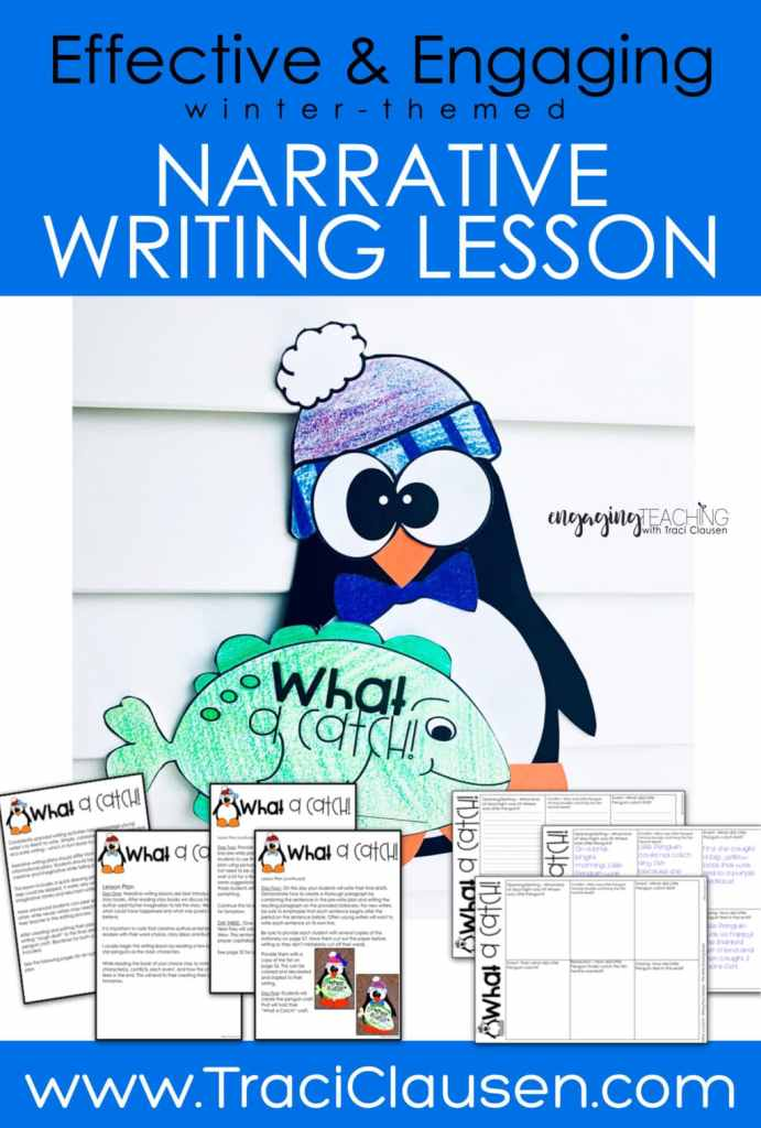 Penguin and fish craft and narrative writing lesson