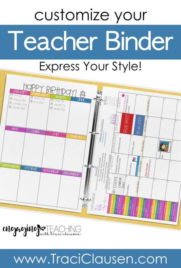 customize your teacher binder