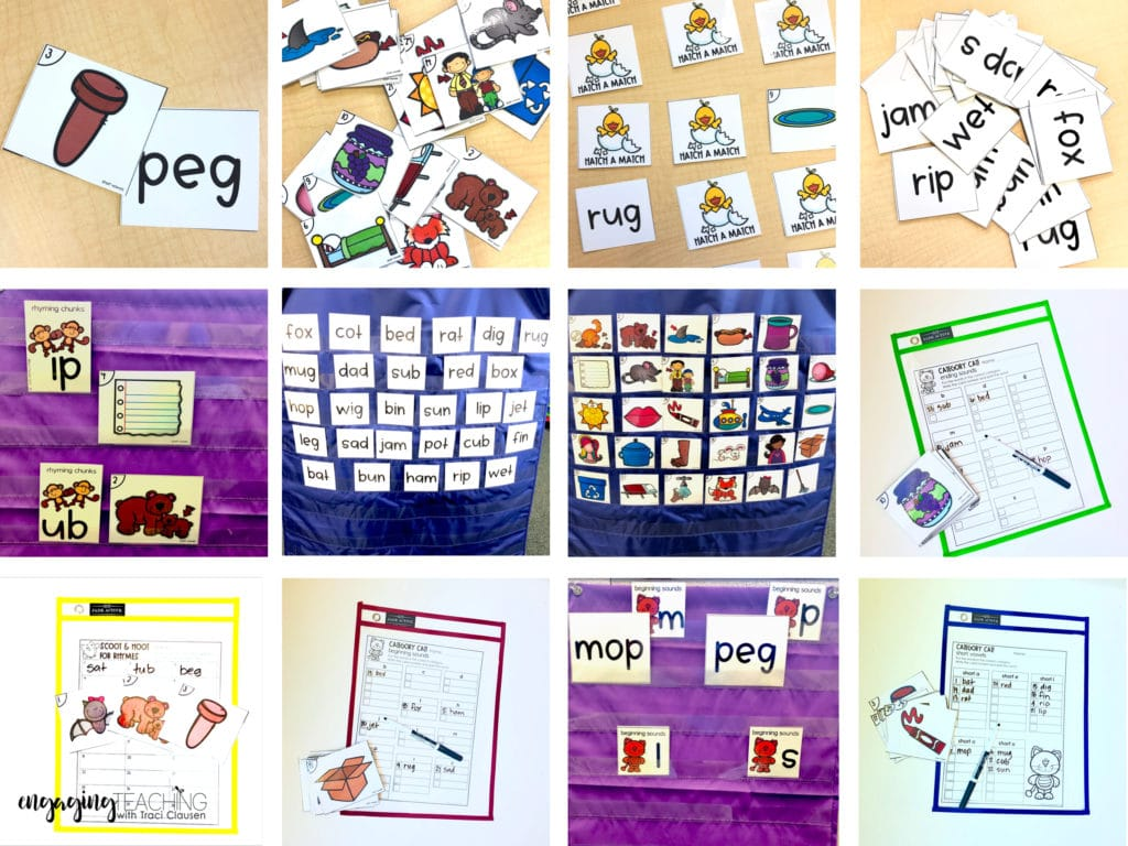Samples of word work activities. Cards, wipe off sleeves and pocket charts