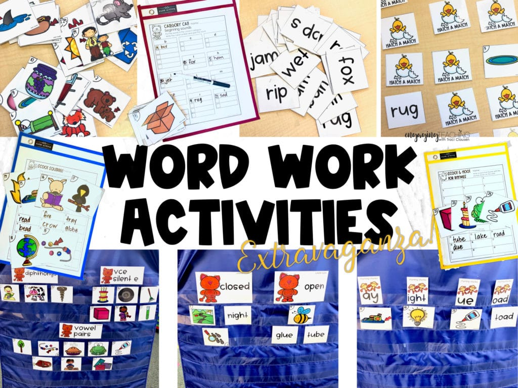 word work activity samples with cards, pocket charts and wipe off pockets