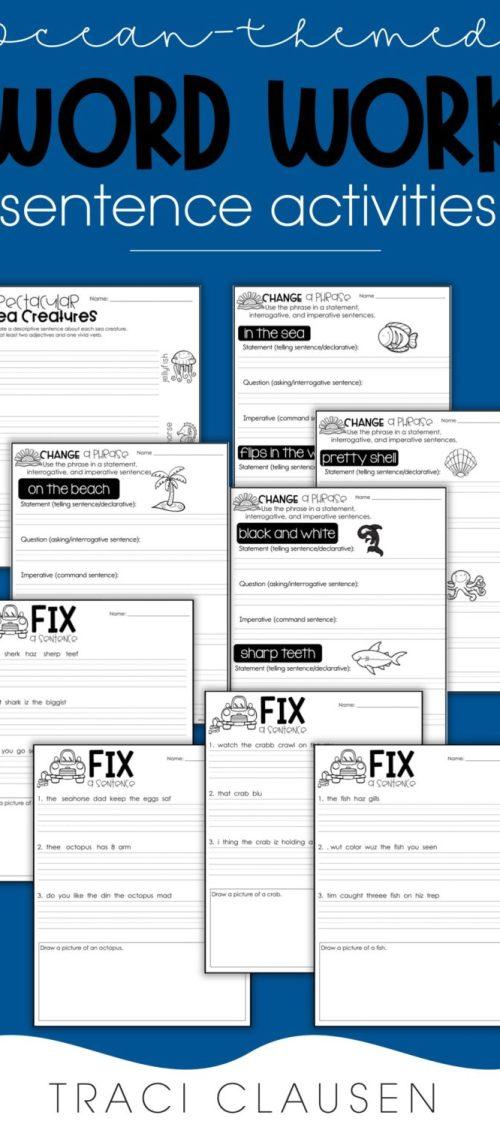 ocean-themed worksheets