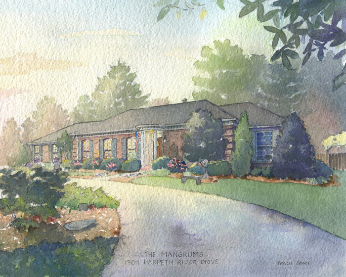 Mangrums' Watercolor Home Painting