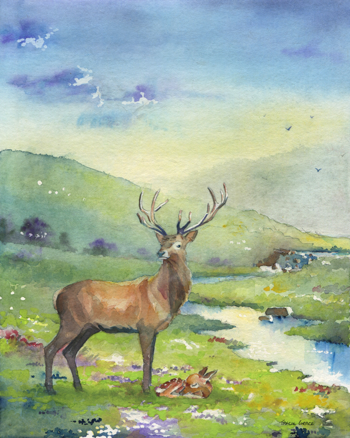 In Memory: Painting Of Stag And Fawn