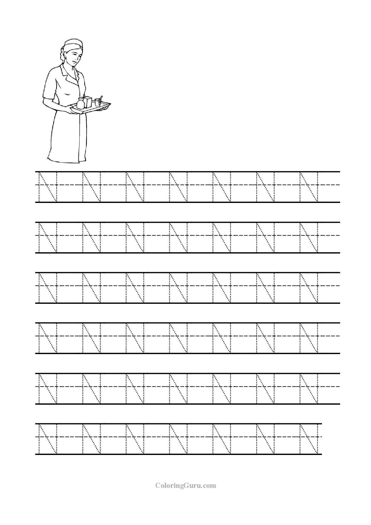 Tracing Letter N Worksheets