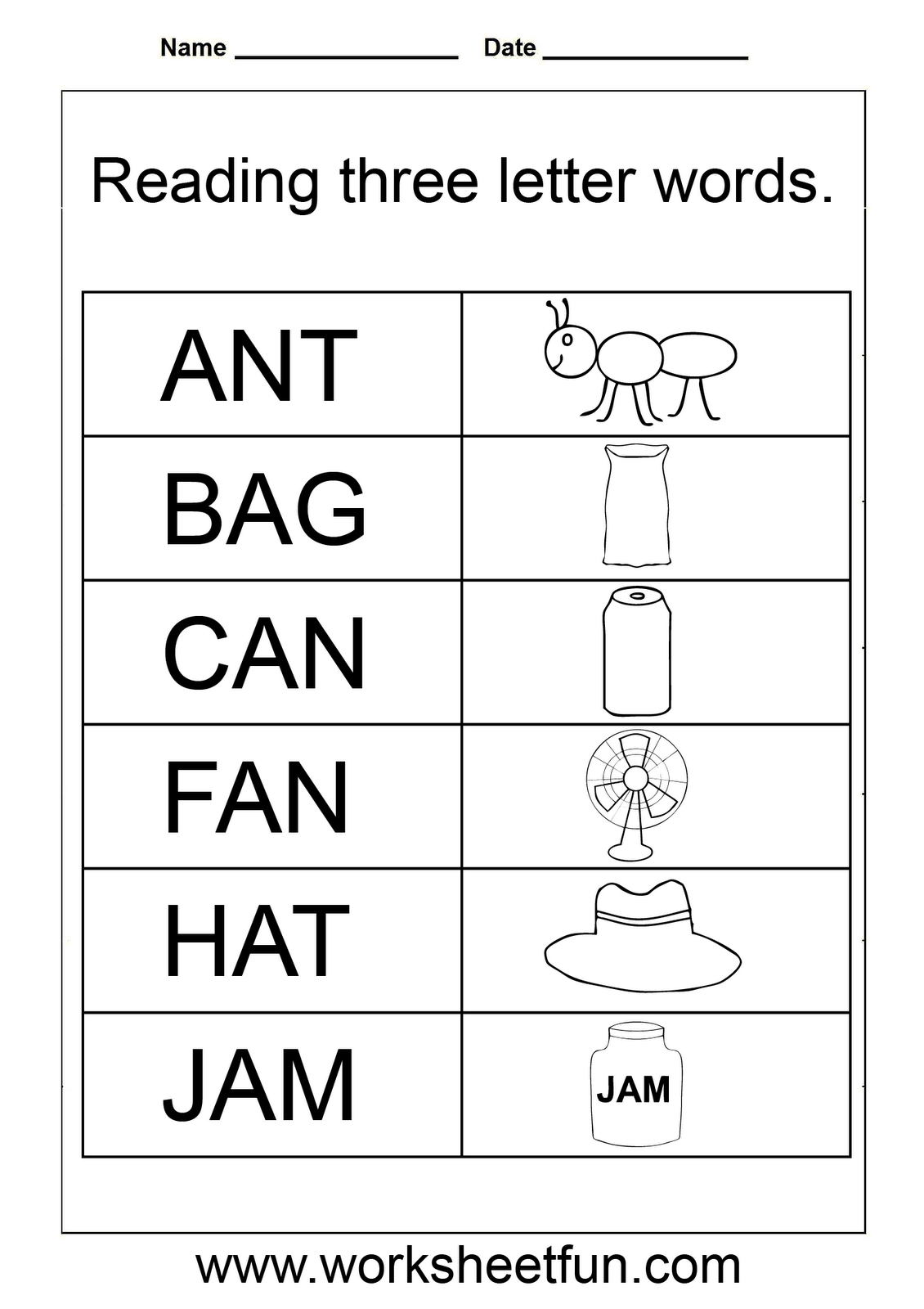 Tracing Three Letter Words Worksheets
