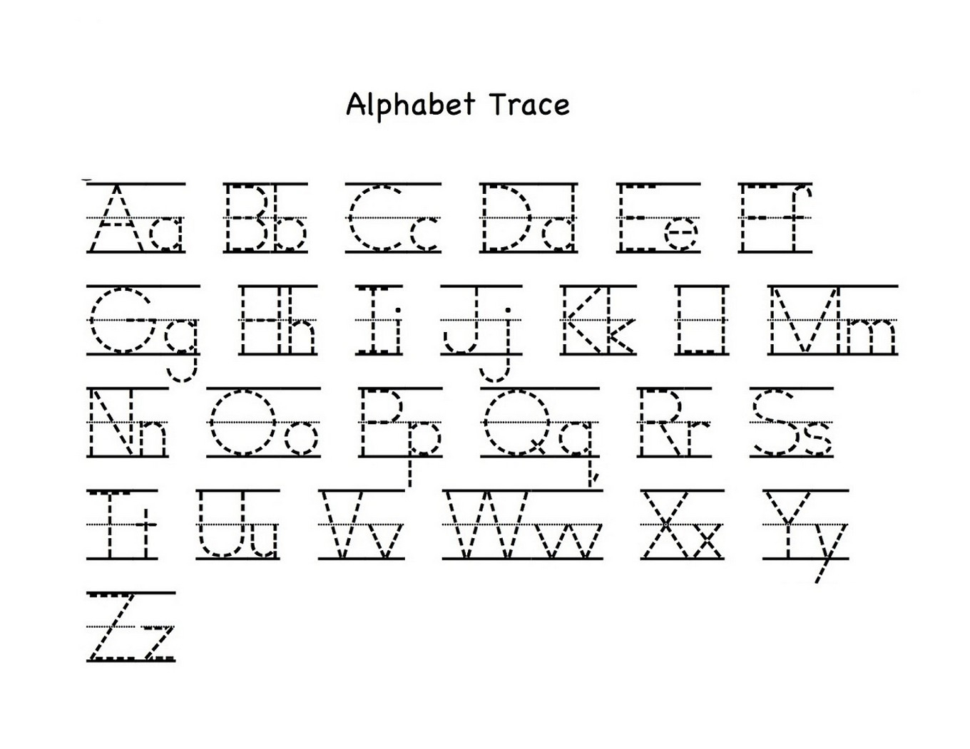 Tracing Letters Az Worksheets