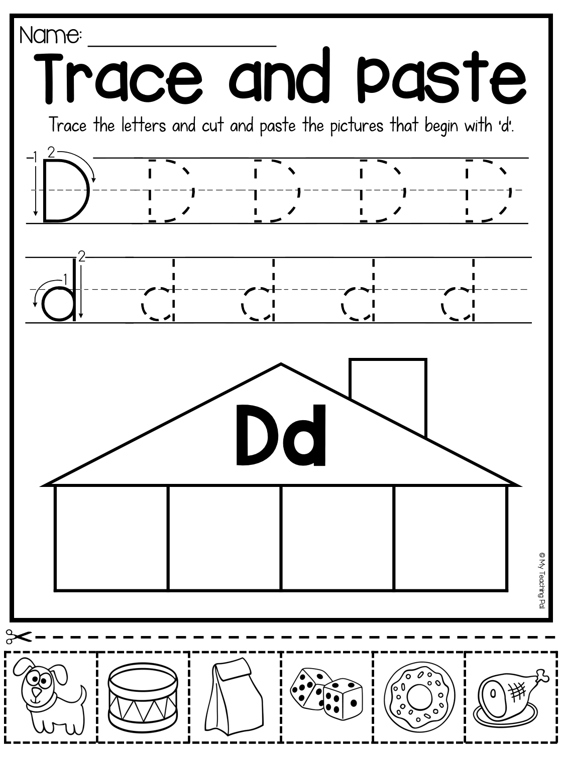 Tracing Letter D Worksheets