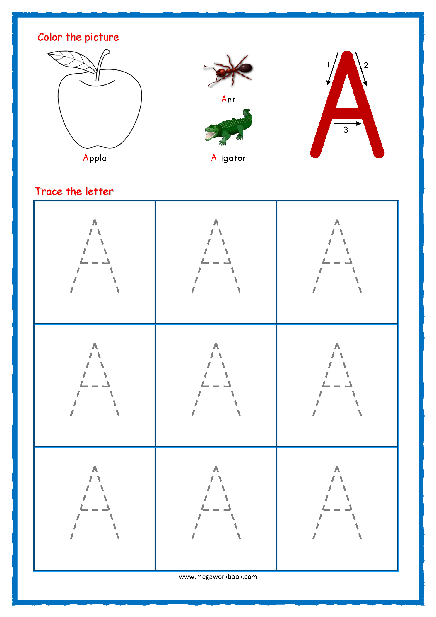 Tracing Letter A Worksheets For Preschool