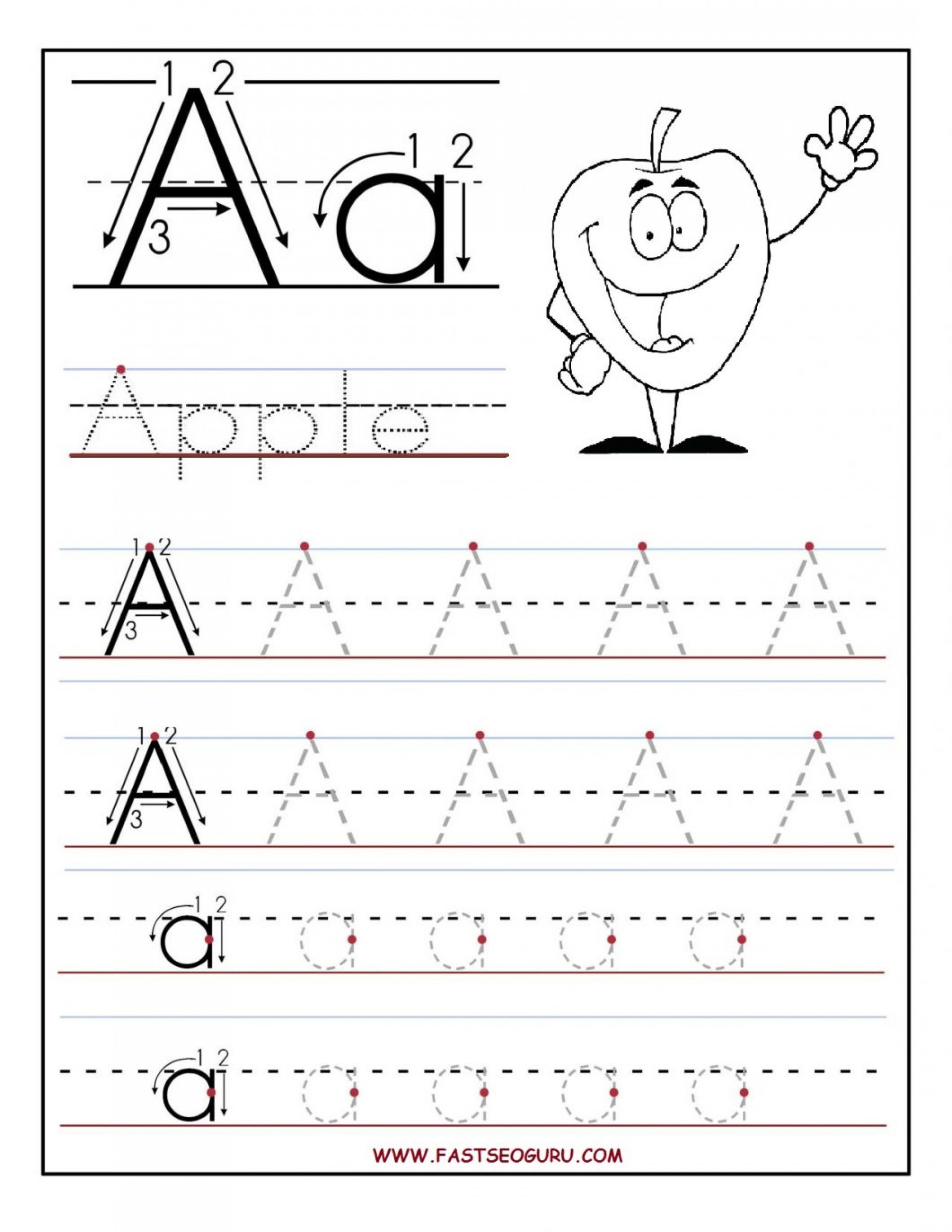 Tracing Letter A Worksheets For Kindergarten