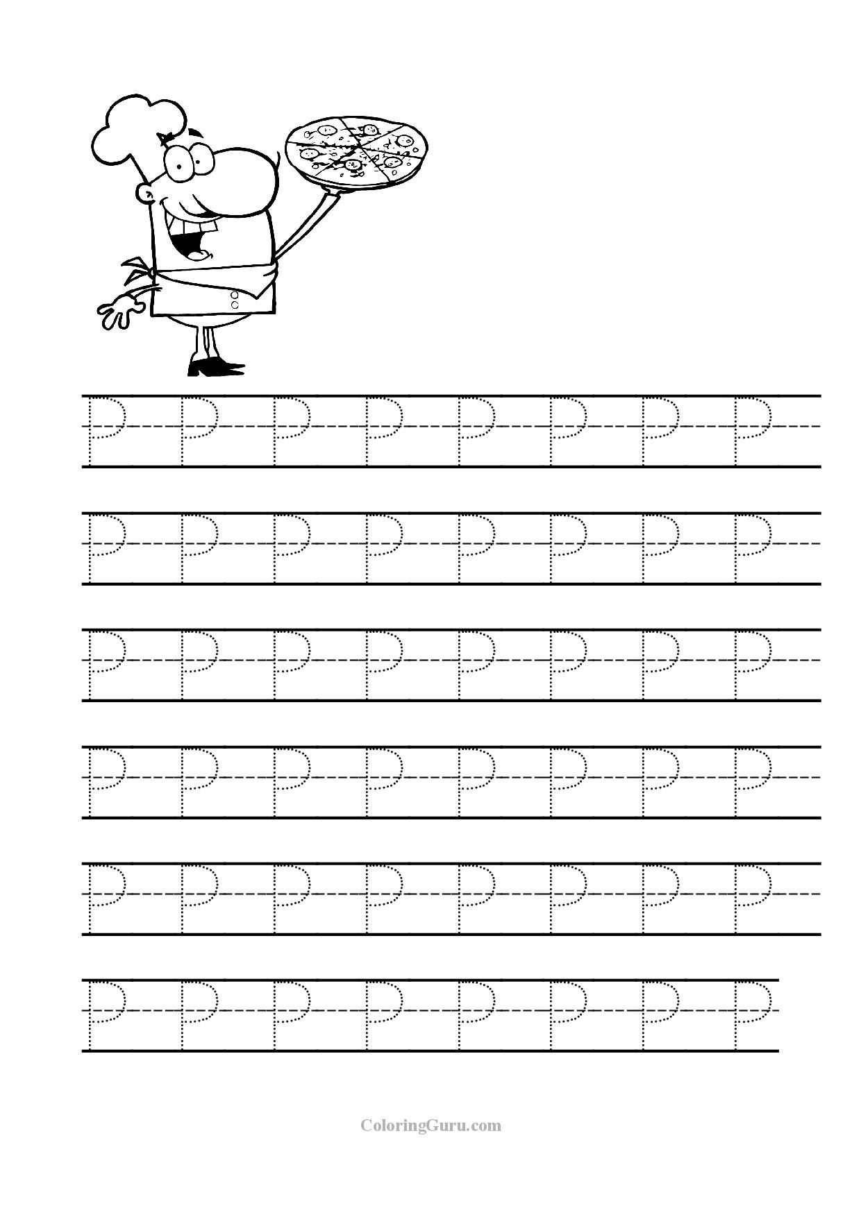 Tracing Letter P Worksheets