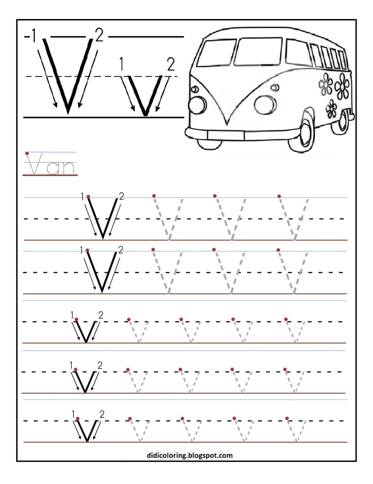 Tracing Letter V Worksheets