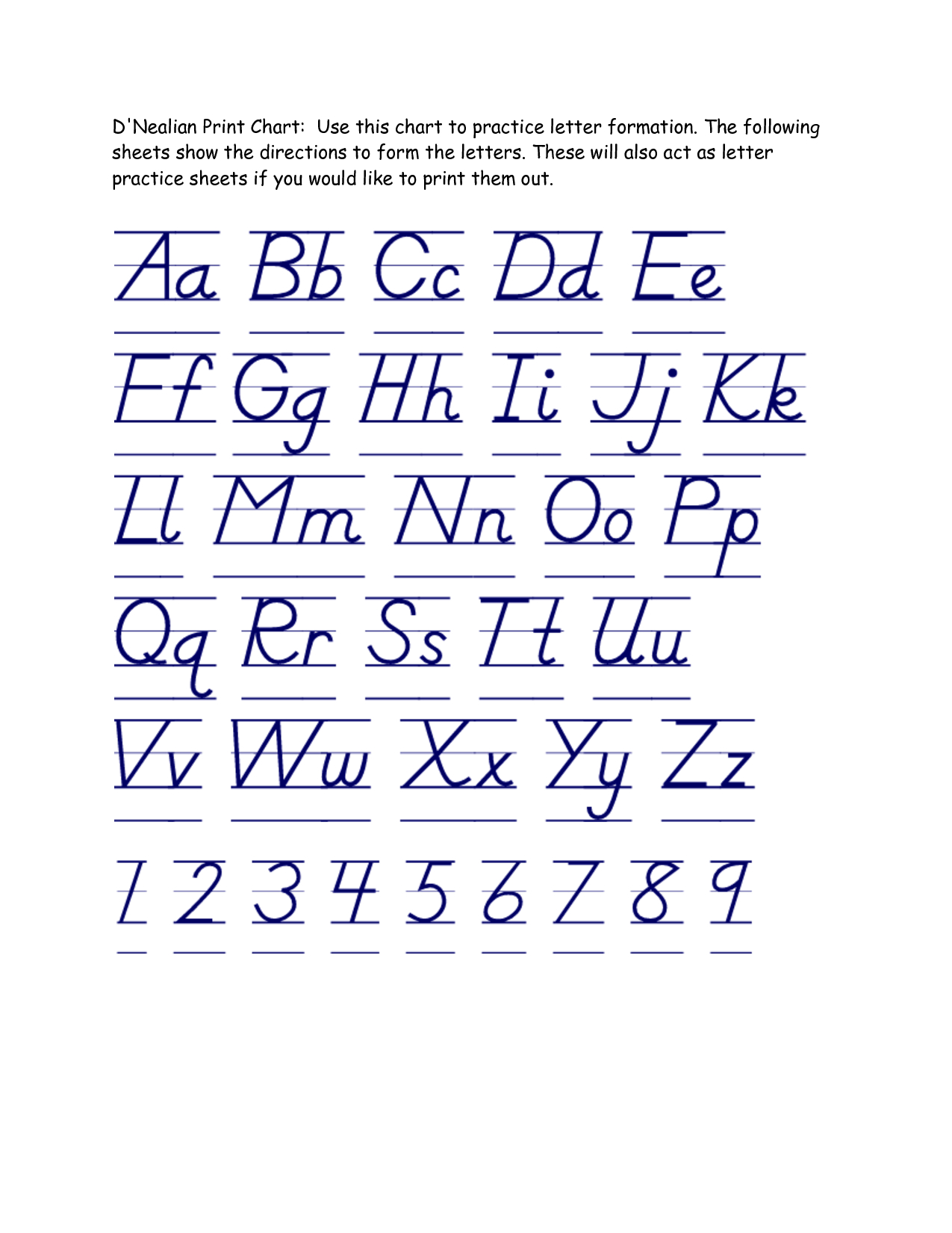 D Nealian Alphabet Tracing Worksheets