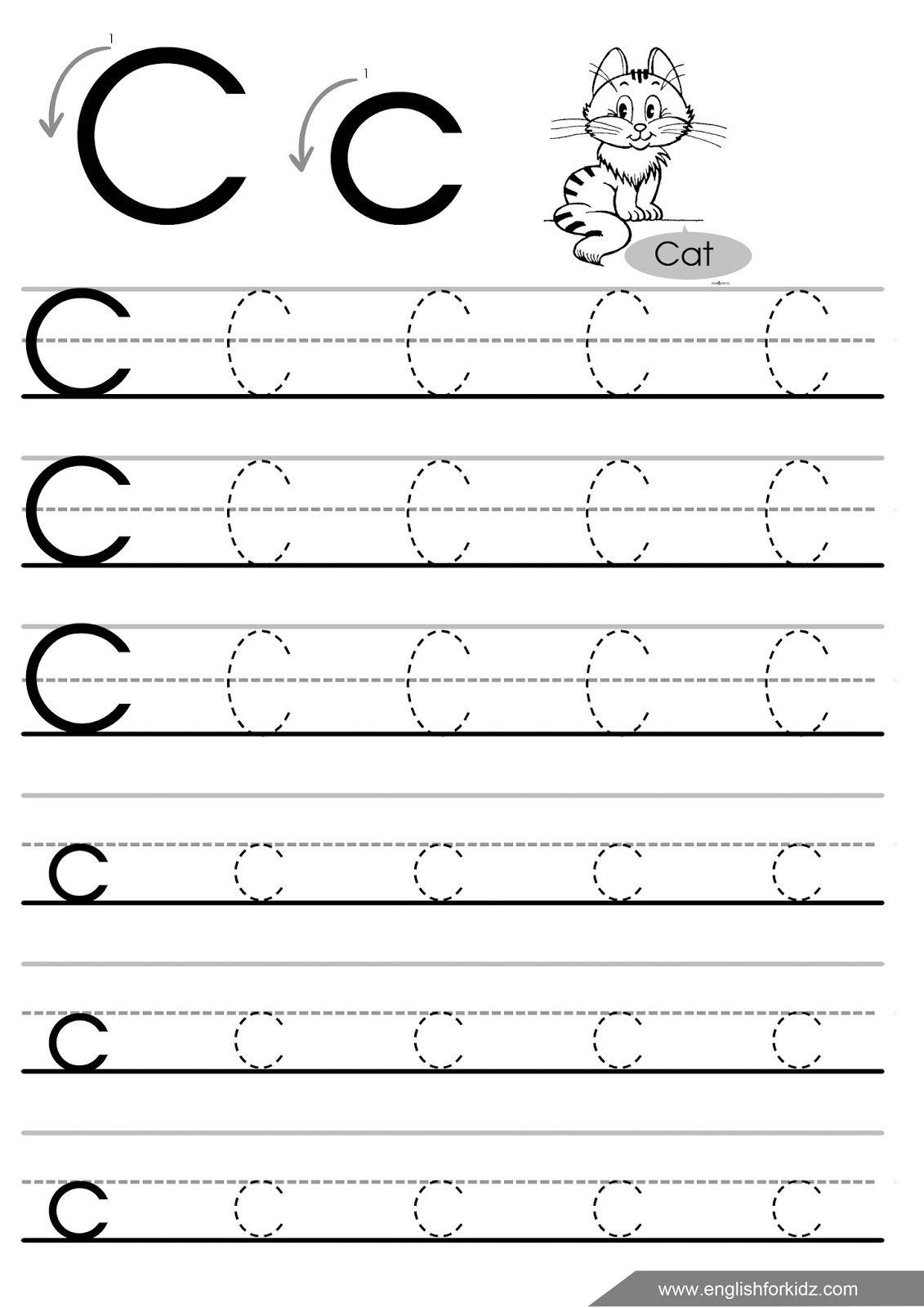 Trace Letter C Worksheets Preschool