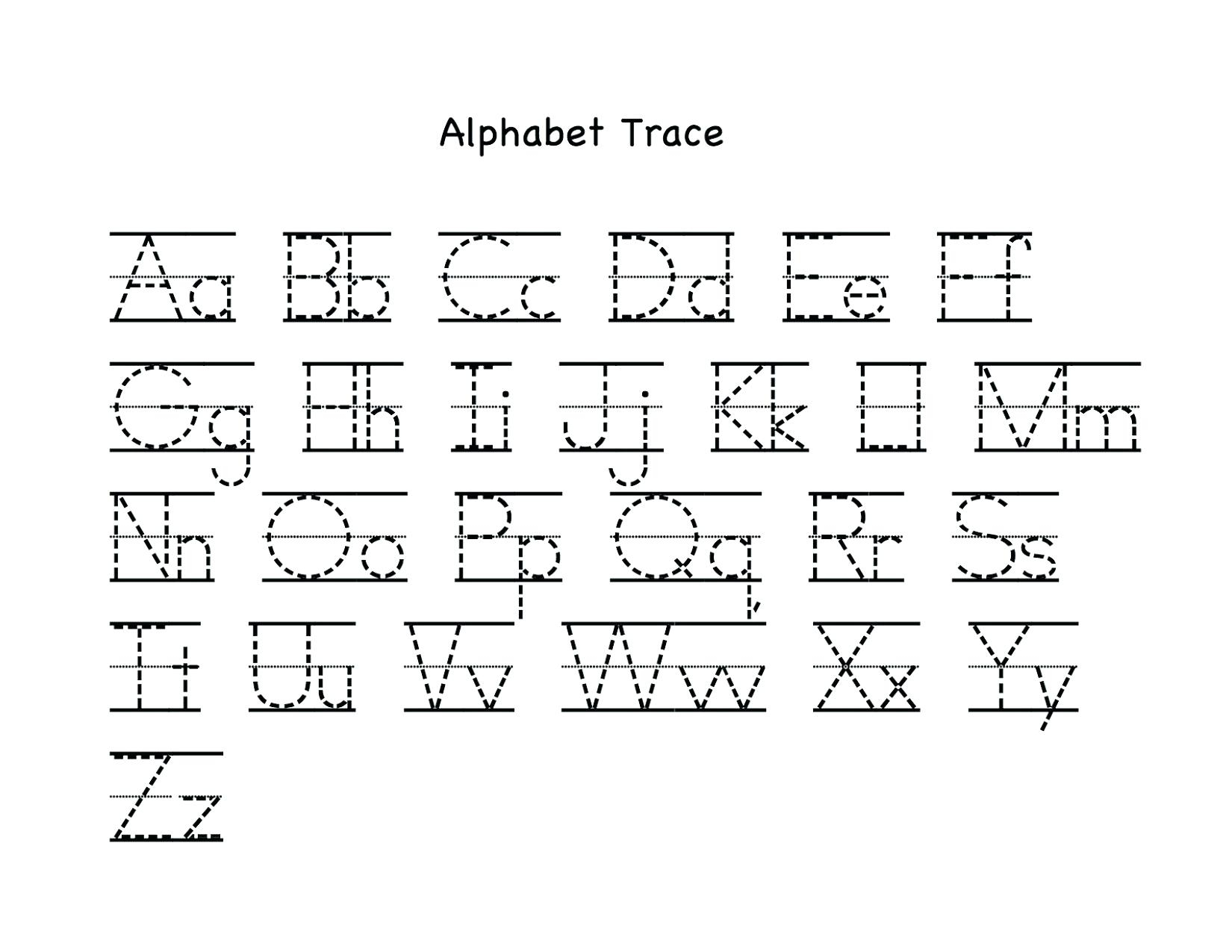 Letters For Tracing Kindergarten