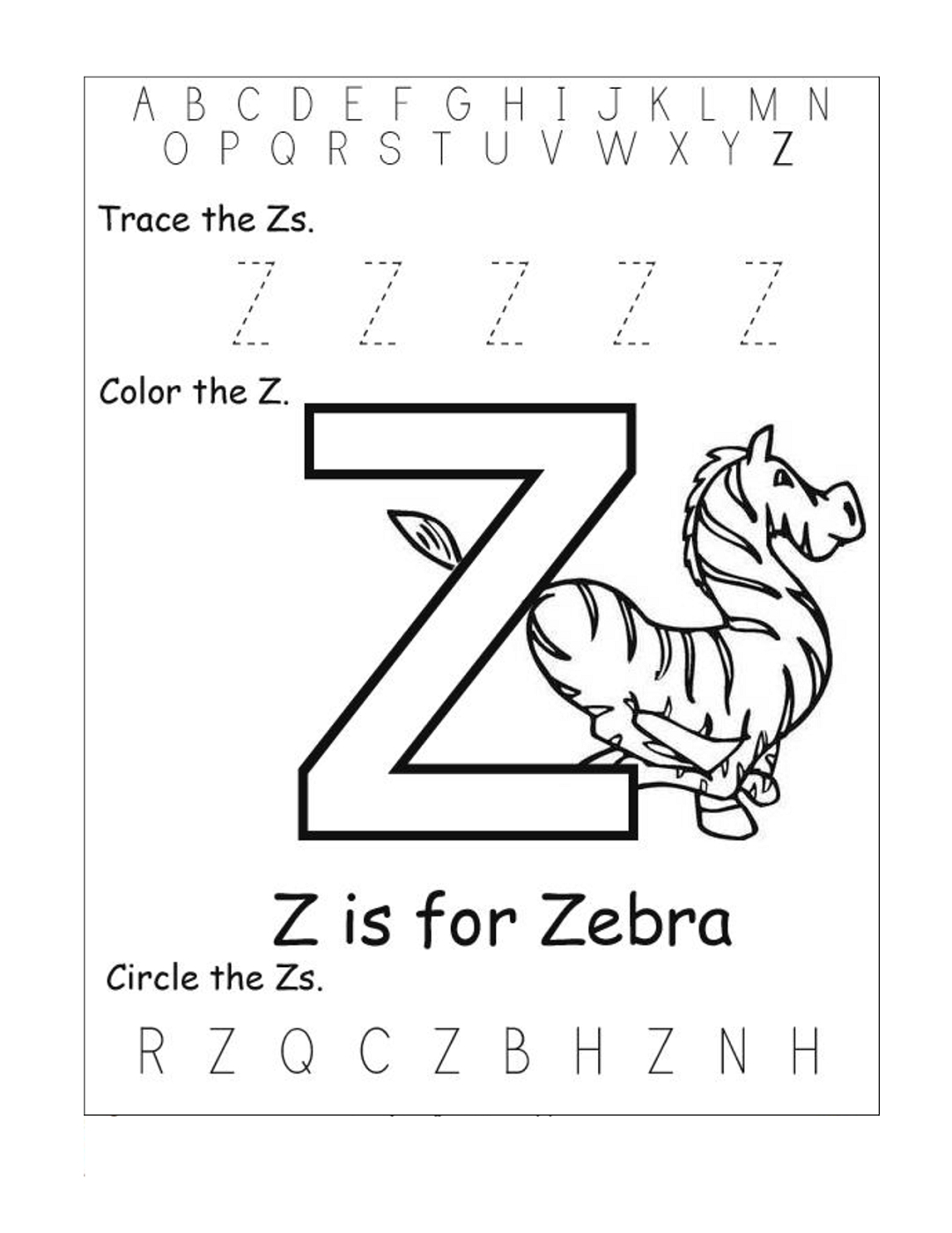 Tracing Letter Z Worksheets