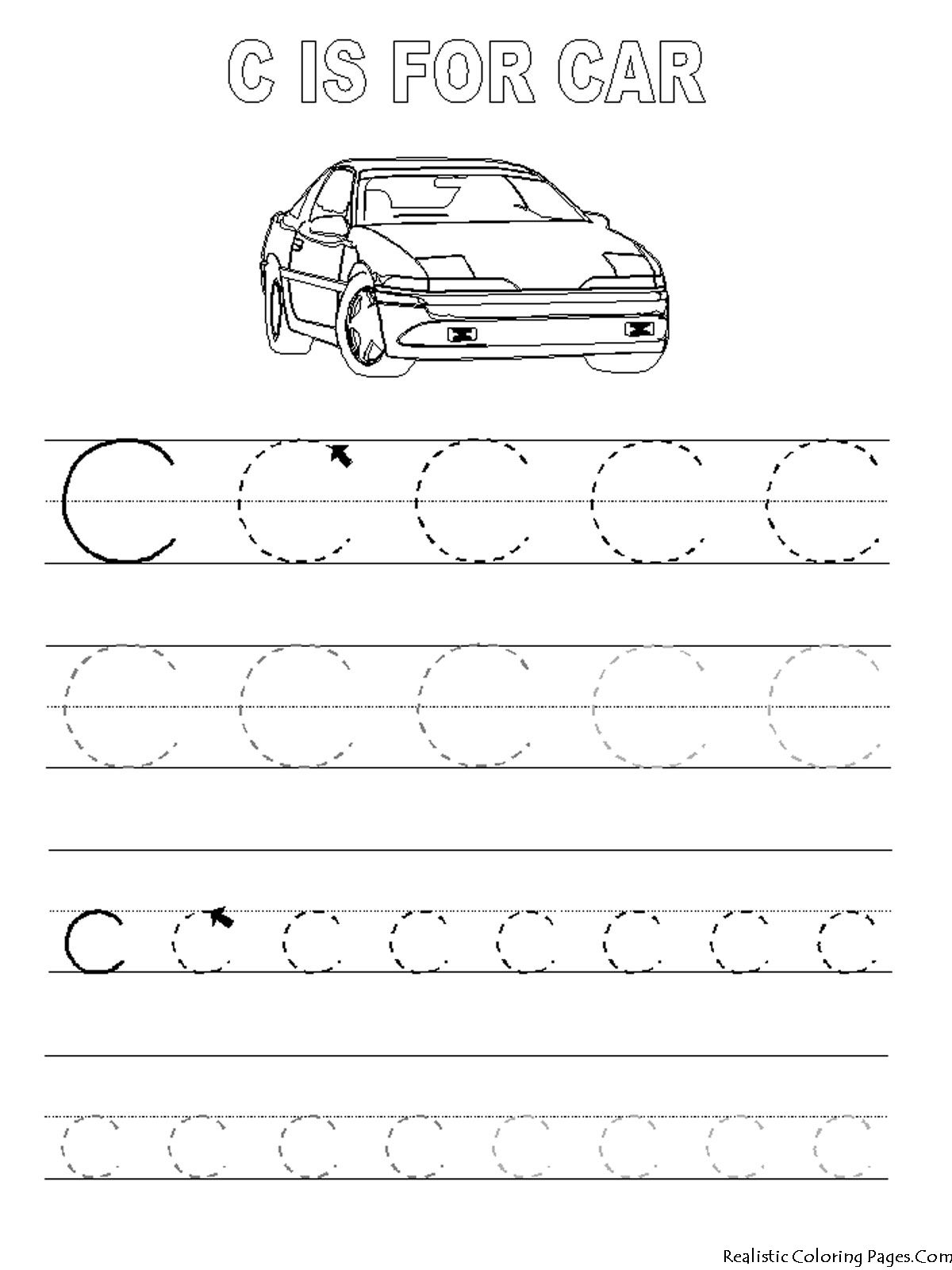 Trace Letter C Worksheets Preschool