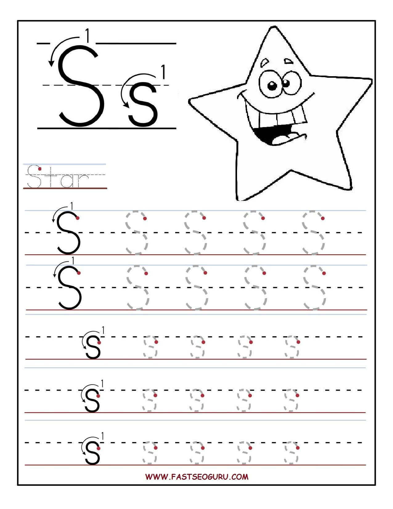 Tracing Letter S Worksheets