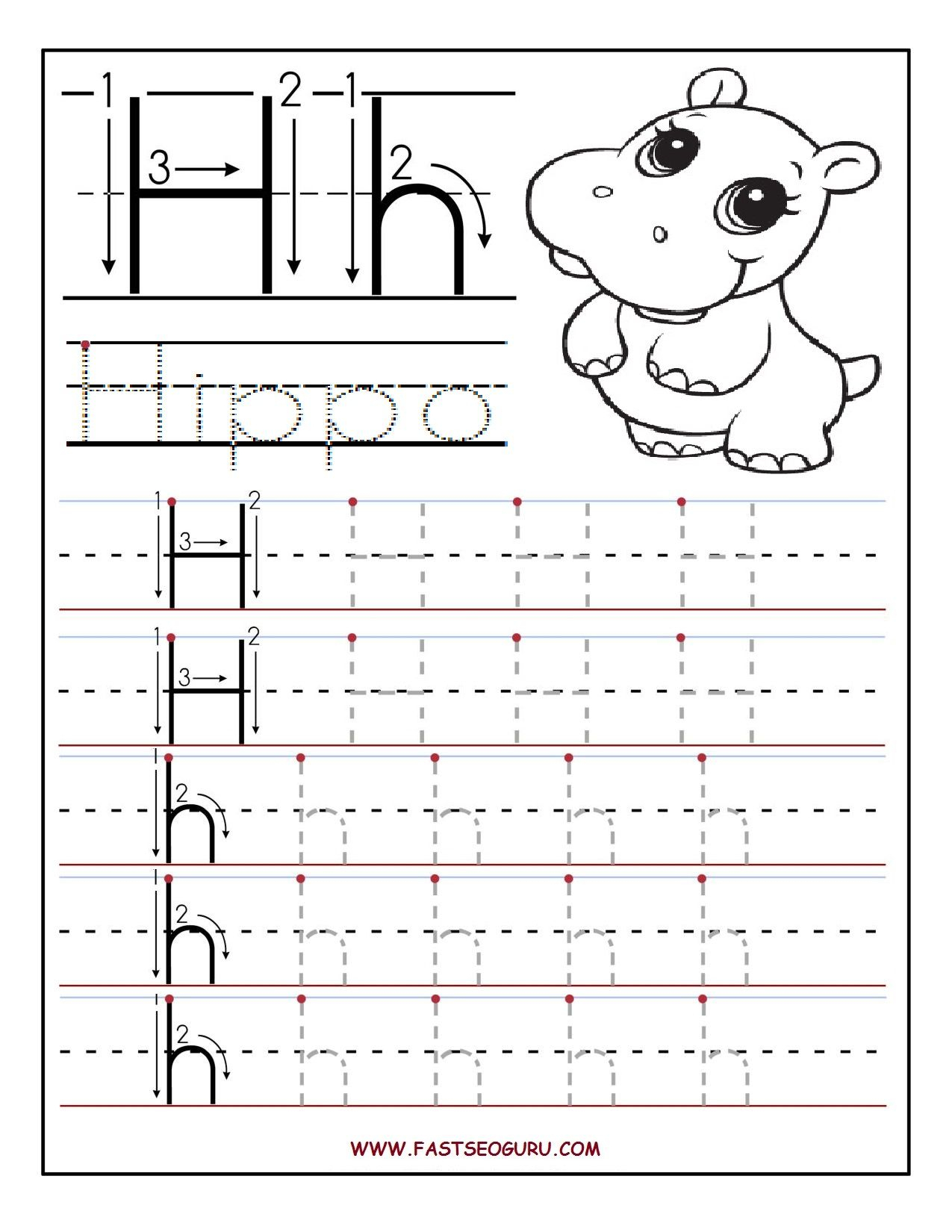 Tracing Letter H Worksheets