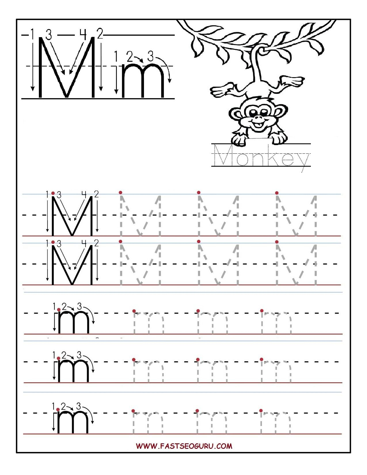 Printable Preschool Worksheets Tracing Letters