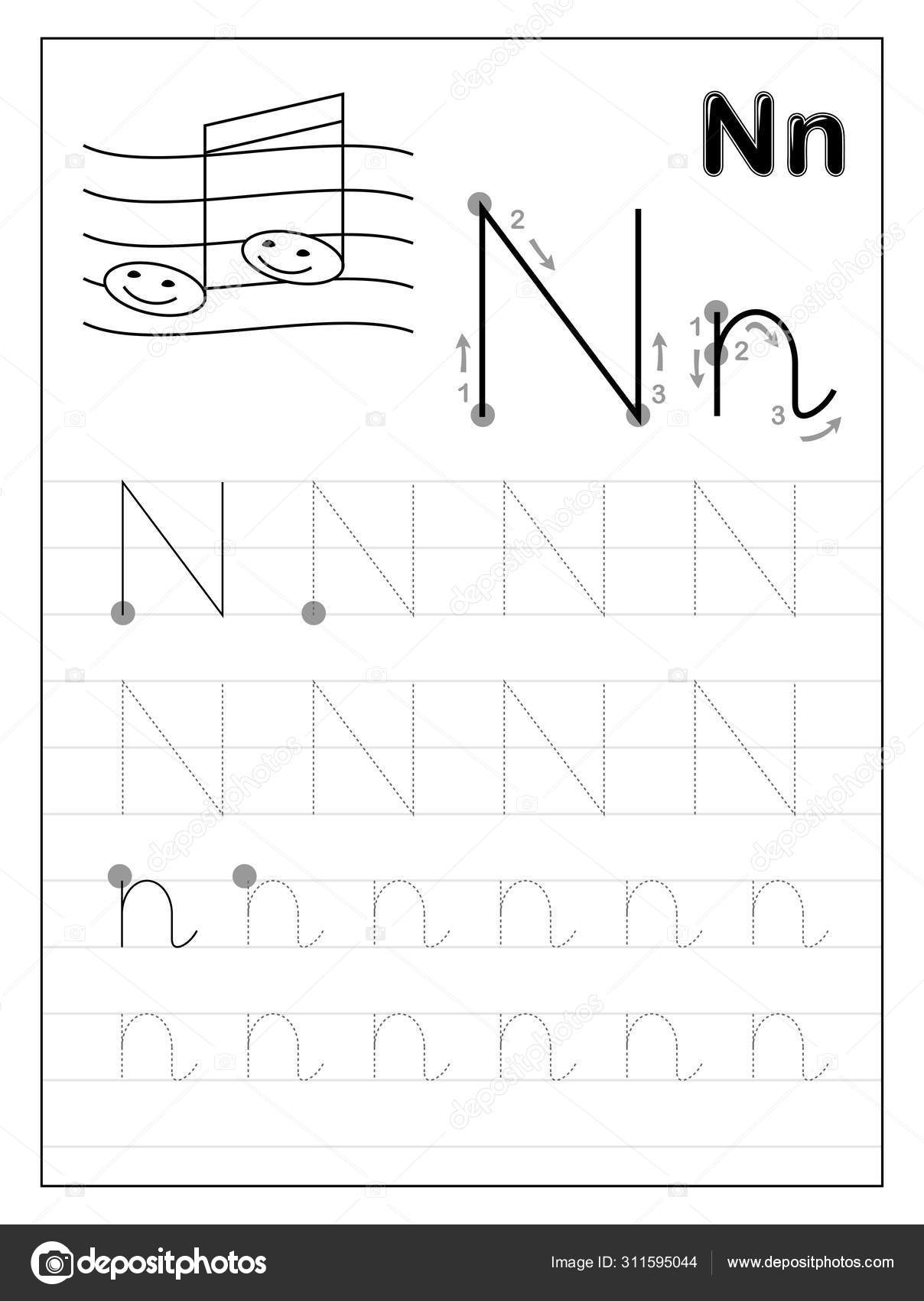 Tracing Letter N Worksheets