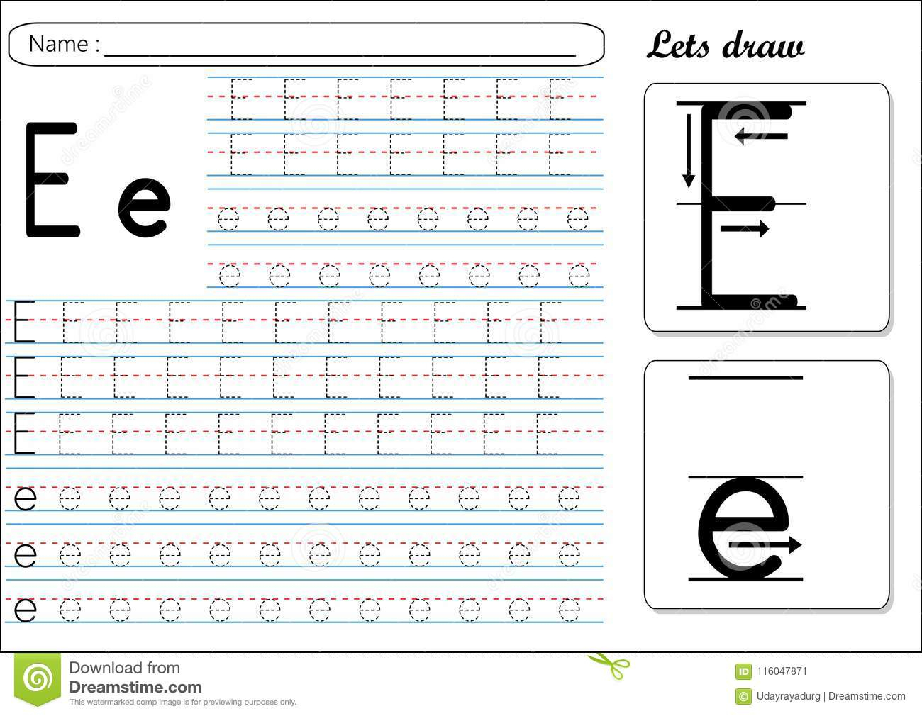 Letter E Tracing Worksheets