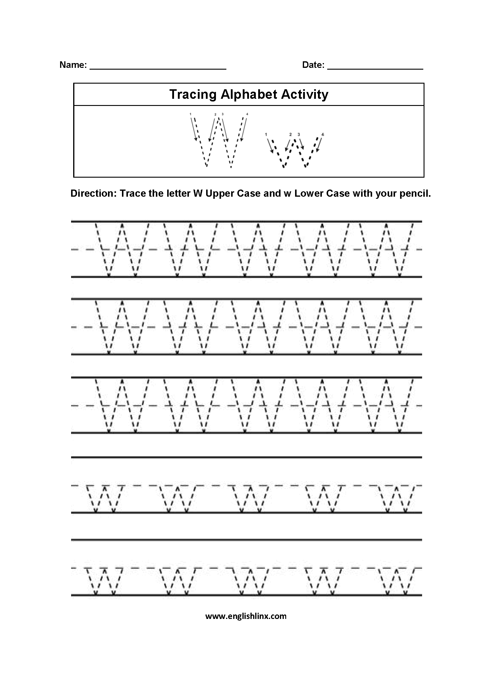 Letter W Tracing Worksheets Preschool