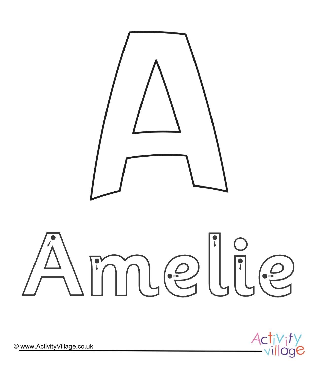Name Tracing Amelia