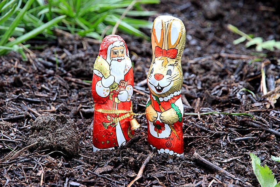 Santa Easter Bunny friends