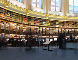 A huge library full of books with internet service