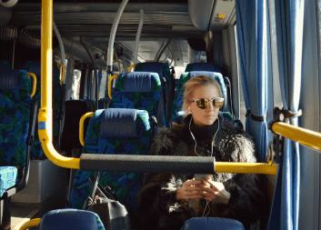 Riding Public Bus - 353x253px