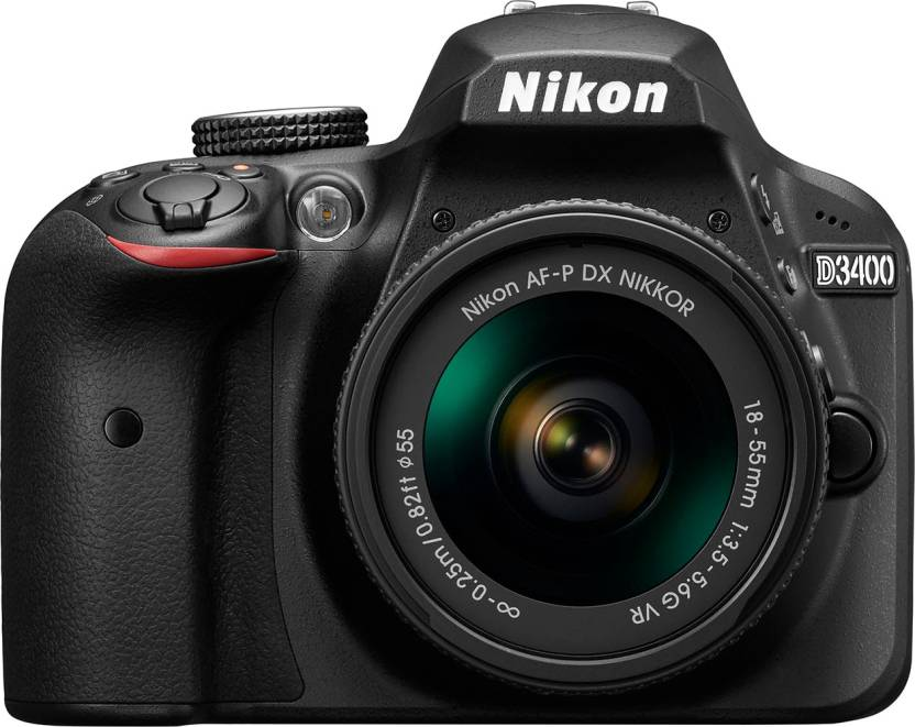 Nikon D3400 DSLR Camera Body with Single Lens: AF-P DX NIKKOR 18-55 mm f/3.5-5.6G VR Kit (16 GB SD Card + Camera Bag) (Black)