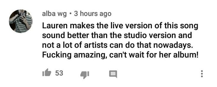 """Print de um comentário no Youtube da performance de """"Expectations"""", da cantora Lauren Jauregui, no programa """"The Late Late Show with James Corden"""""""
