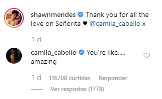 """Shawn Mendes e Camila Cabello nos comentários da postagem com o vídeo de """"Señorita"""" ao vivo, no Instagram do cantor."""