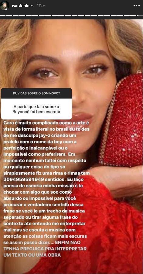 Imagem com Beyoncé no papel de parede e texto em cima do Instagram de Baco Exu do Blues