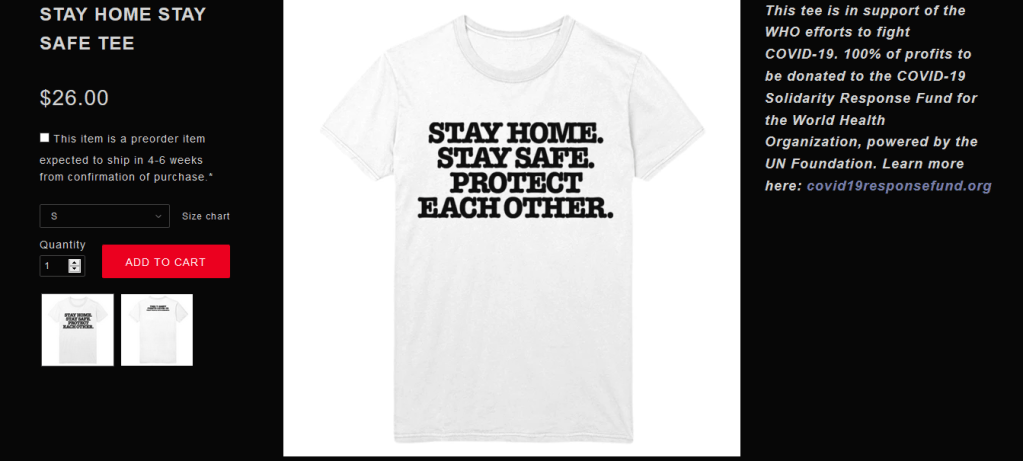 Site oficial de Harry Styles com a nova camiseta. Todo o lucro com o novo merchandising será revertido para a luta contra o coronavírus.