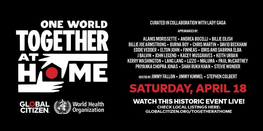 "Banner oficial do ""One World: #TogetherAtHome"", organizado pela OMS e Lady Gaga. Artistas como Lizzo, Billie Eilish, Stevie Wonder e J Balvin aparecem no line-up."