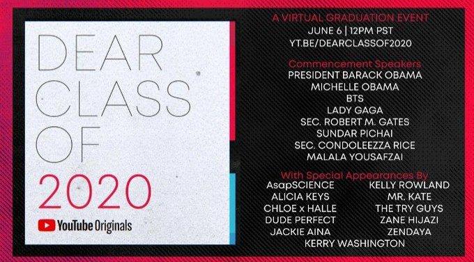 """Banner do evento """"Dear Class of 2020"""", promovido pelo Youtube e que acontecerá em junho. Lady Gaga, BTS, Alicia Keys e Kelly Rowland são alguns dos nomes presentes."""