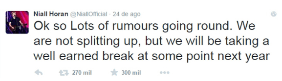Tweet de Niall Horan explicando a pausa da banda One Direction