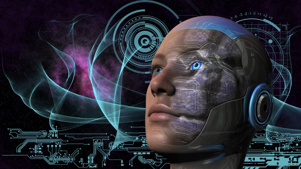Cyborg woman with deep space and circuit design background
