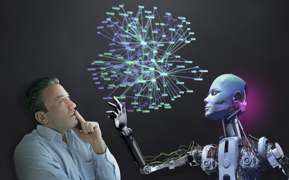Human and robots to work together in the near future. This combination will accelerate developing technology. Businessman and cyborg organizes social media.