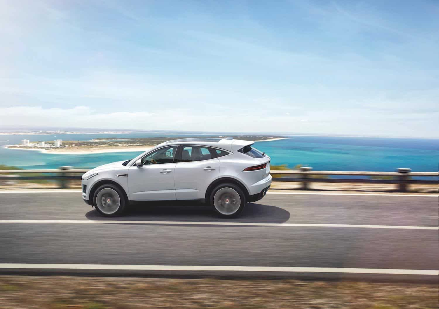 2018 Jaguar E-PACE white rolling sideview