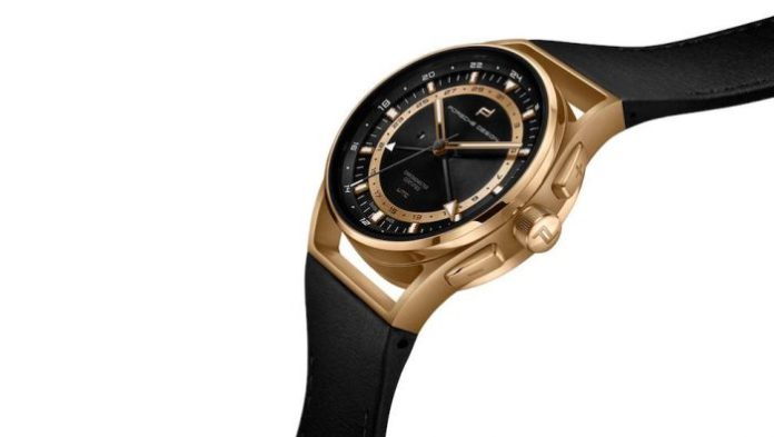 Porsche Design 1919 Globetimer UTC World-Time Watch in gold front view