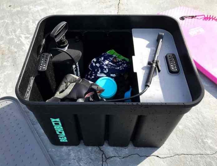 beachbox portable shower top view