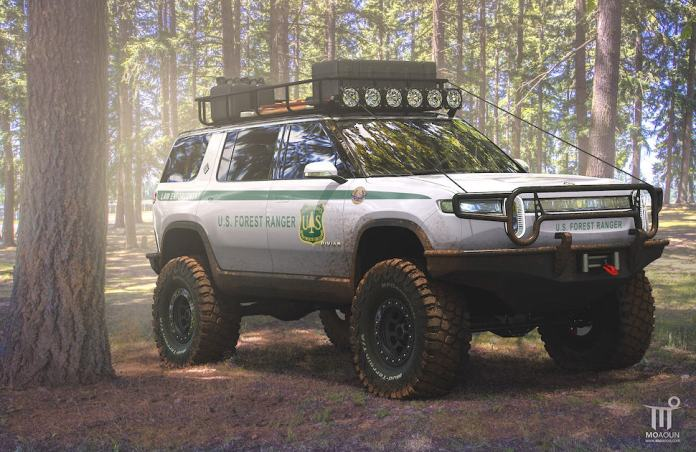 Rivian R1S U.S. Forest Ranger Edition all Electric SUV concept