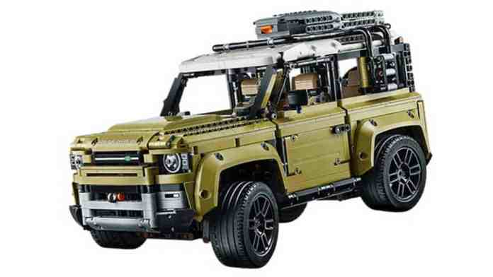 land rover defender lego technic set front view