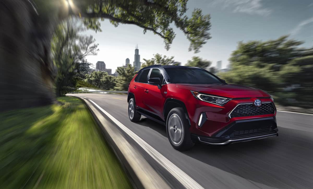 2021 Toyota RAV4 Prime front rolling in red