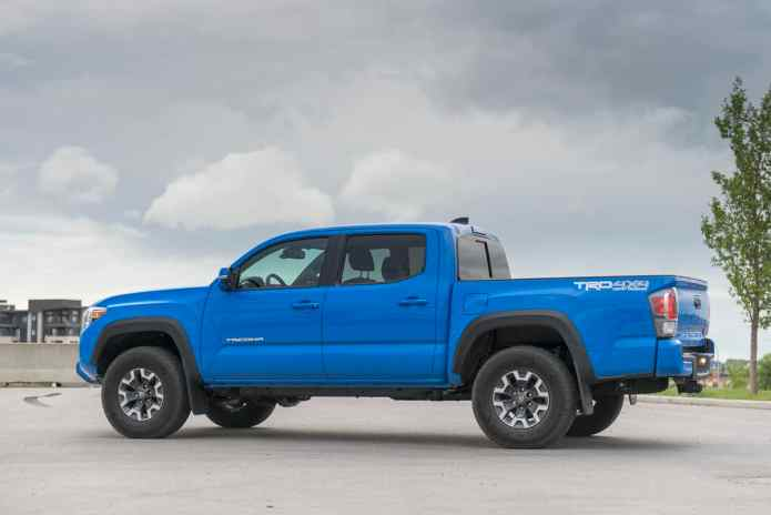 2020 Toyota Tacoma TRD blue rear profile