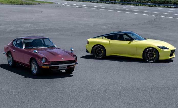 new nissan z car next to classic model