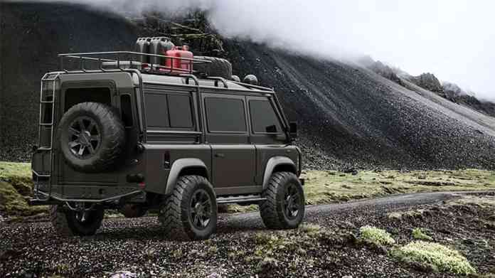 land rover defender van rear view