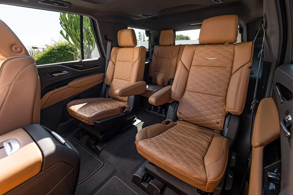The new 2021 Escalade has second row sliding seats that allow for increased distance between the first and second row seats.